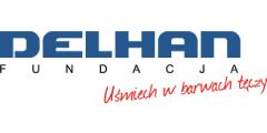 Logo Fundacji Delhan Uśmiech w barwach tęczy